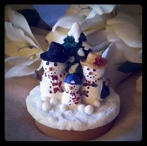 Ceramic Snowman Family Candle Topper